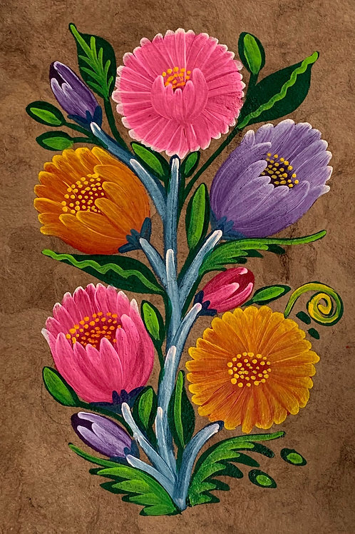 A Vintage Traditional  Mexican Oil Painting on Amate Tree Bark