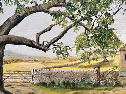WALNUT TREE AND FARM painting signed j wellum - framed