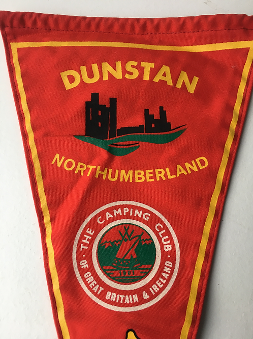 Vintage 1960s Camping Club of Great Britain Pennant Flag Dunstan Northumberland