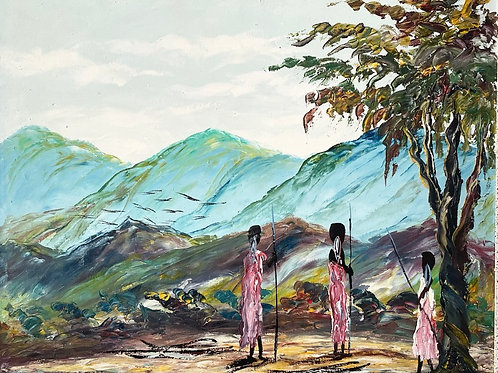 THREE FIGURES WITH SPEARS - oil painting tribal scene