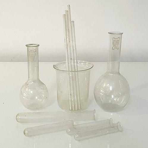 SCHOLA SCIENCE LAB UTENSILS - vintage glass beakers test tubes erc
