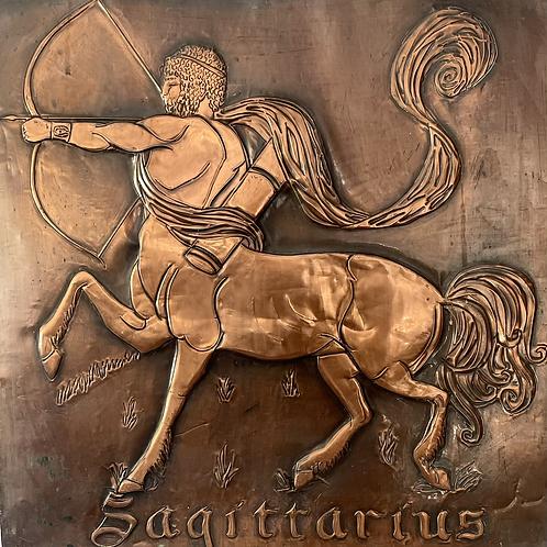 """SAGITTARIUS - vintage copper wall plaque 24"""""""