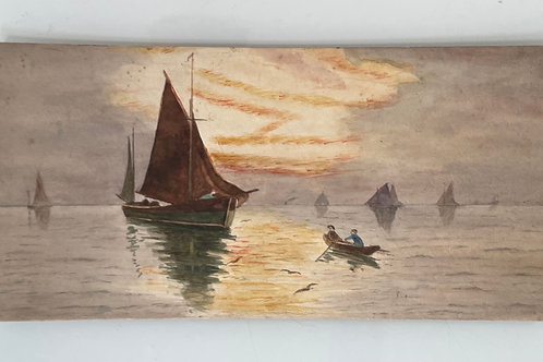 SEASCAPE WITH BOATS AT DUSK - vintage painting on board