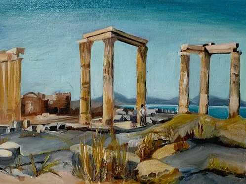 Vintage Original Art Painting THE ACROPOLIS at RHODES by DE GIBSON