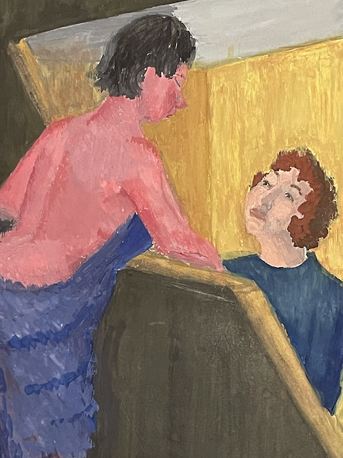 HALFWAY UP THE STAIRS by Geraldine Maloney - 1950s painting