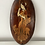 Thumbnail: WALL PLAQUE - vintage wooden marquetry lady in traditional dress