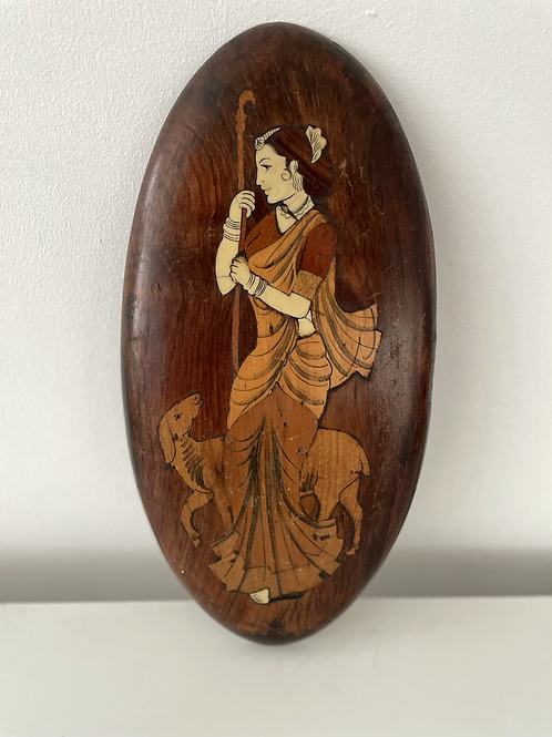 WALL PLAQUE - vintage wooden marquetry lady in traditional dress
