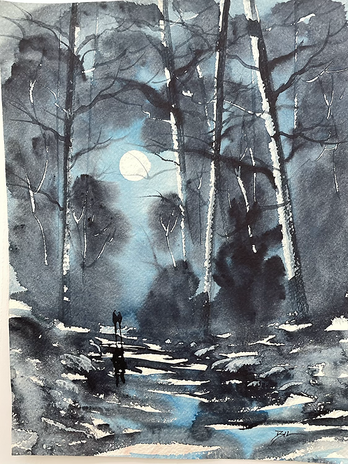 UNDER THE MOONLIGHT - signed vintage watercolour