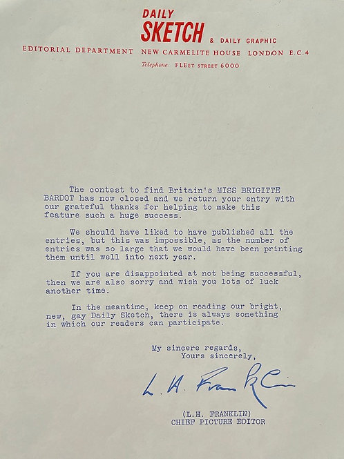 1960s DAILY SKETCH REJECTION LETTER - brigitte bardot competition