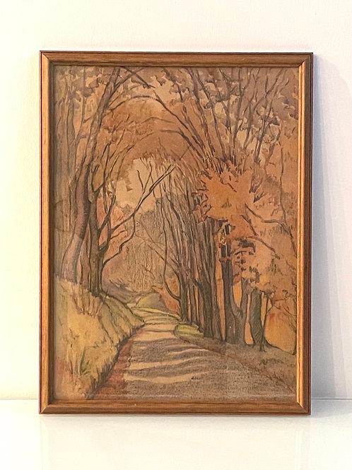 AUTUMN - vintage pastel painting framed