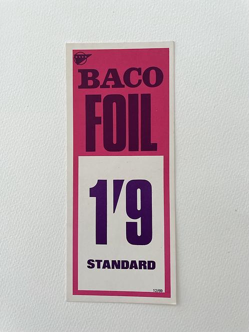 BACO FOIL - vintage food shop price card