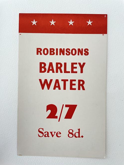 ROBINSONS BARLEY WATER - vintage shop price card label