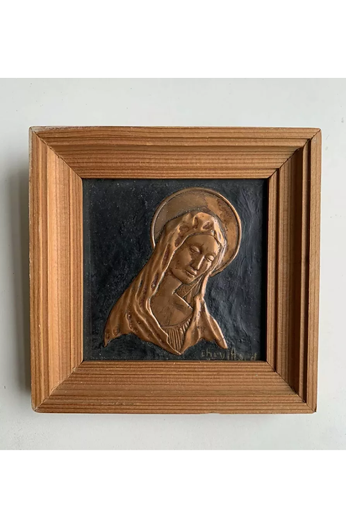Vintage Framed Copper Portrait Virgin Mary