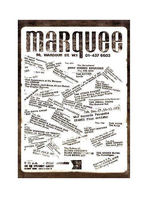 Vintage MARQUEE CLUB LONDON Poster Print 24 x 17 inches 70s Rock Pop Souvenir