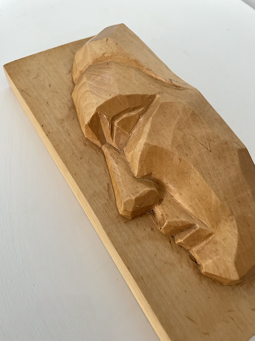 FACE - hand  carved swiss wood relief plaque