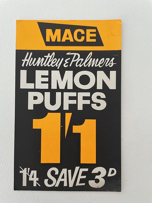 LEMON PUFFS - vintage shop price card