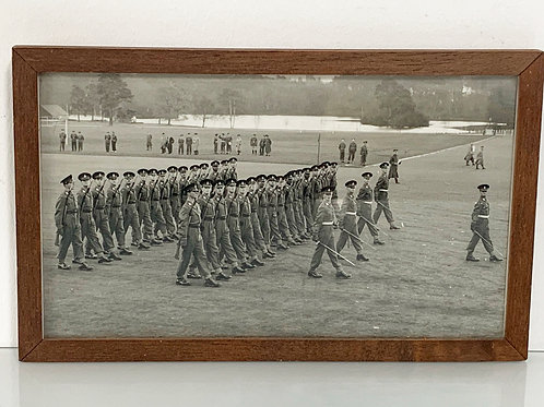 Vintage Framed Photograph Sandhurst Passing Out Parade Ceremony - Army Militaria