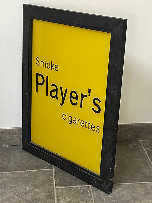 PLAYERS CIGARETTES - vintage glass sign