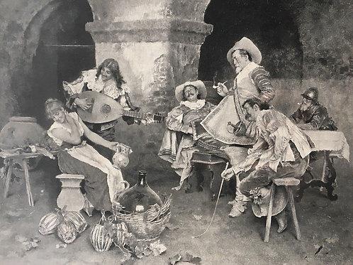 Framed Old Vintage WINE MUSIC LOVE Historic Art Engraving Photogravure 1891