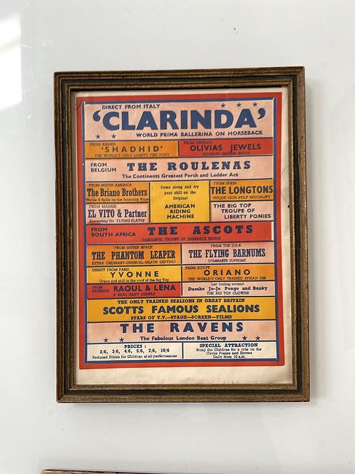 VARIETY SHOW BILL - vintage 1950s framed show bill advert