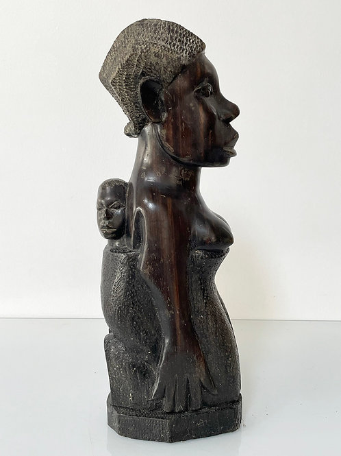 MOTHER AND CHILD - vintage hand carved hard wood figure lamp holder