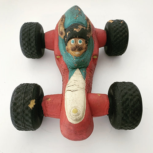 BENDY SOFT TOY RACING CAR - vintage rubber toy