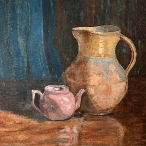 STILL LIFE PAINTING by M Skyne - vintage original painting on canvas
