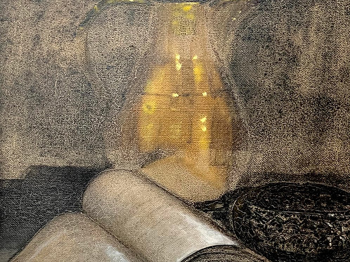 STILL LIFE WITH BRASS JUG by - M Skyne - Vintage Oil Painting on Canvas