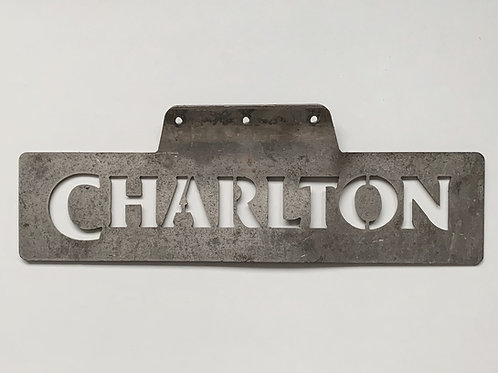 Vintage Metal CHARLTON Stencil Sign