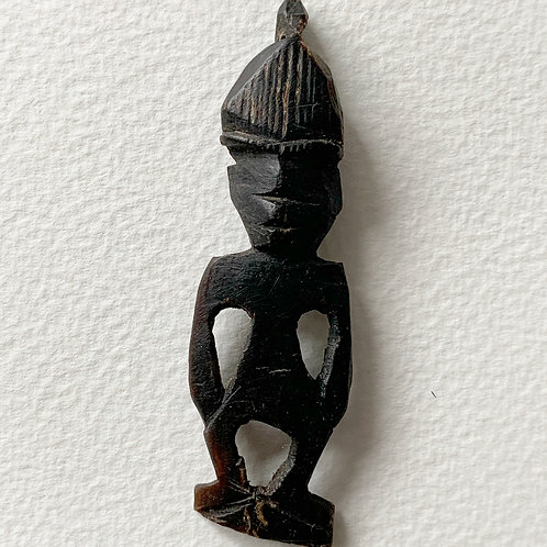 Vintage Hand Carved Folk Art Figure Pendant - Buffalo Horn Lombok Indonesia (1)