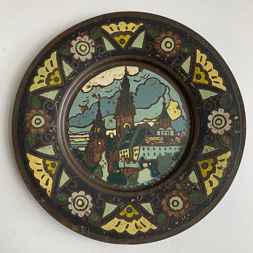 Vintage Decorative Painted Copper Plate - Church Castle View - Wall Hanging