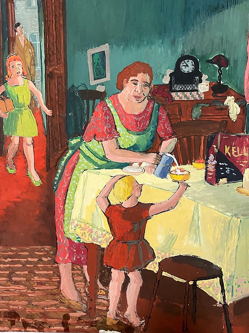 BREAKFAST by Geraldine Moloney - vintage 1950s painting