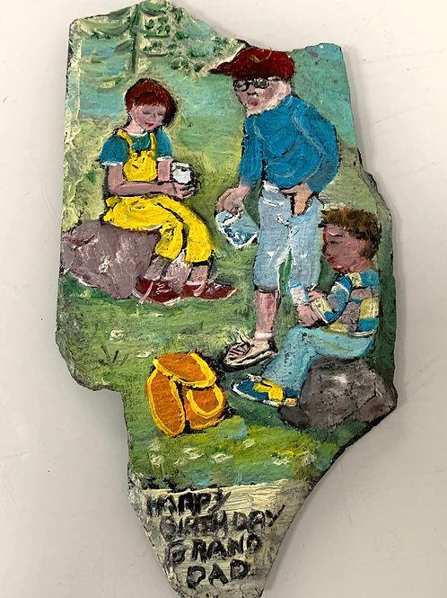 Vintage Naive Folk Art Painting on Slate 'Happy Birthday Grandad'