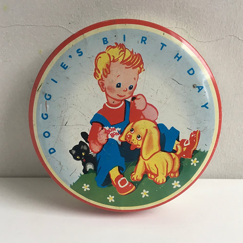 Vintage Doggie's Birthday Biscuit or Sweets  Tin