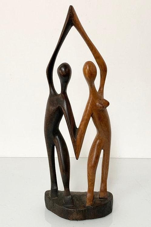 DANCING LOVERS - hand carved vintage gambian wood figure -
