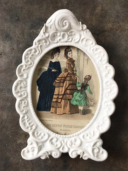 Vintage French Fashion Hand coloured Illustration Engraving in Ornate Ceramic Fr