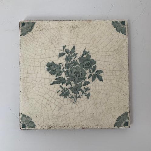Old Antique Minton Decorative Ceramic Tile - Floral Design Made in Stoke