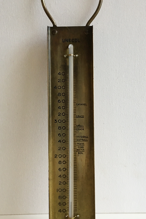 Vintage Brass Unecol Caramel Thermometer - Retro Catering Kitchenalia