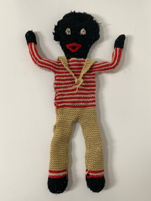 "Vintage Black Wool Rag Doll 16"" - Sailor Matelot"