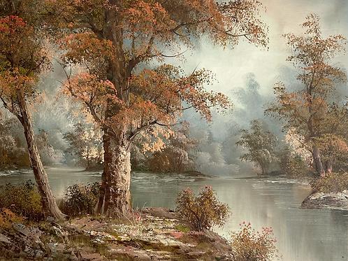 AUTUMNAL TREES & RIVER - vintage decorative painting