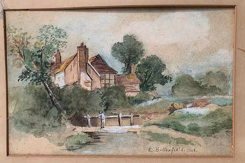 Framed Antique 1901 Watercolour Painting - Signed E Butterfield Country Scene