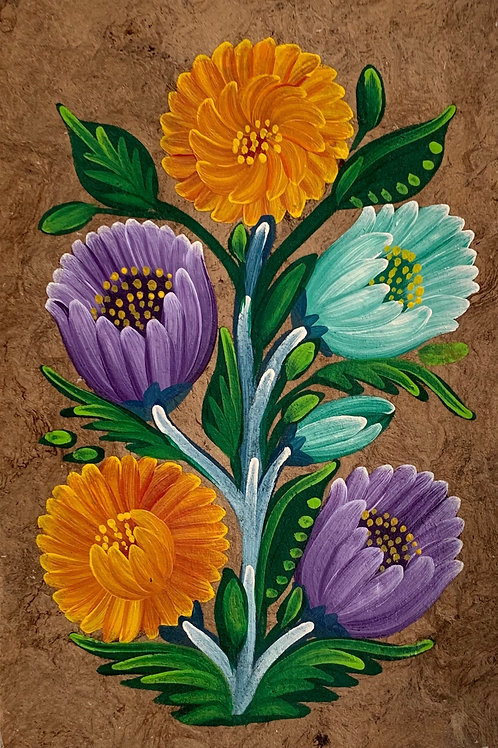 Vintage Traditional  Mexican Oil Painting on Amate Tree Bark FLOWERS