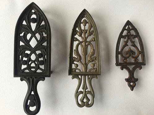 Three Vintage Kitchen Trivets Cast Iron Decorative - Retro Kitchenalia Gothic