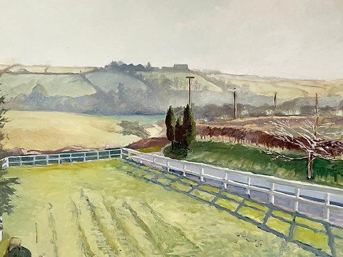 FARM LANDSCAPE by L Shore - painting - vintage original  art