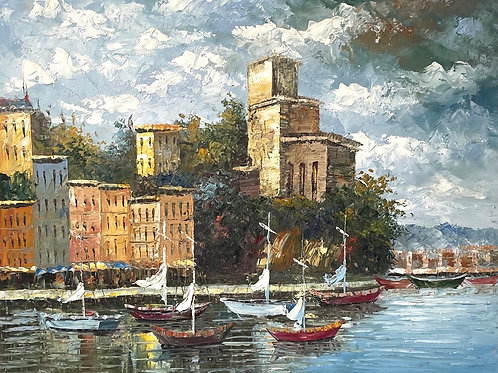 HARBOUR SCENE WITH BOATS - oil on canvas vintage