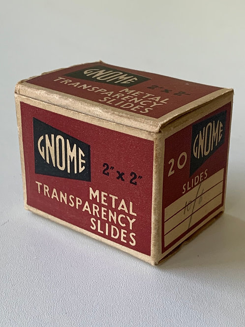 """Box of Vintage Gnome Metal Transparency Slides - Film Photography 2x2"""""""