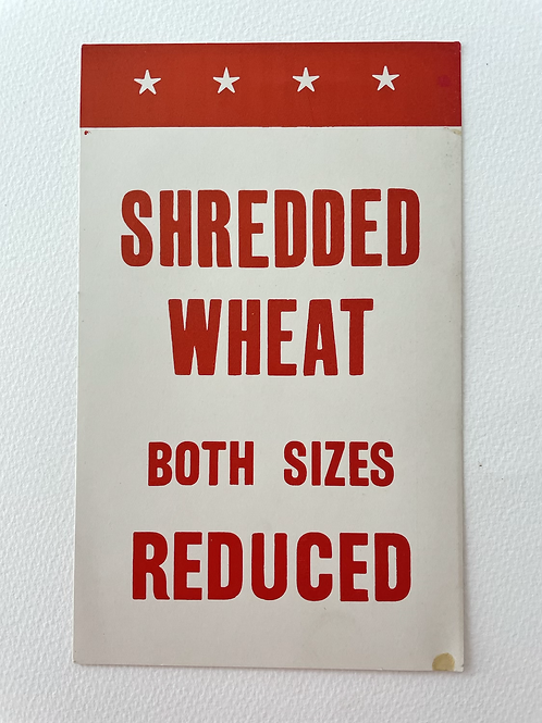 SHREDDED WHEAT  - vintage shop display card
