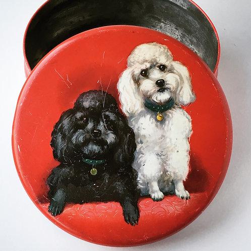 Vintage Biscuit Tin with Poodles Illustration