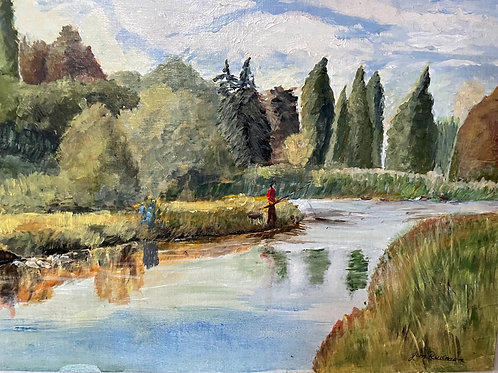 THE LAKE AT WALTON HALL  by Jim Rodman - vintage oil painting