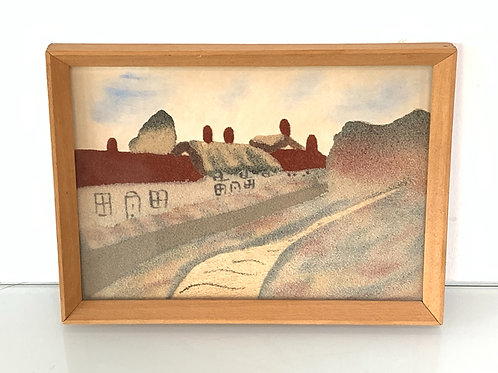 """Vintage Sand Painting Picture - Winkle Street Calbourne Isle of Wight 7.5 x 5.5"""""""